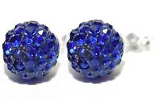 DARK ROYAL BLUE CRYSTAL BALL STERLING SILVER STUD EARRINGS (S253)