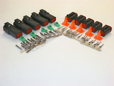 5 sets BLACK Deutsch DT 4-Pin Connectors 16-18 ga AWG Stamped Contacts