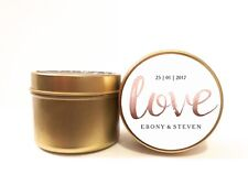 Personalised Soy Candle Wedding Favours Bomboniere. 2oz ROSE GOLD LOVE Bridal