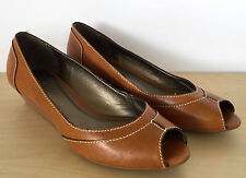 TALBOTS Womens Brown Leather Open Toe Wedge Heels Shoes Size 6 B