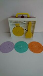 Vintage Fisher Price Music Box Record Player Children's Toy With Records