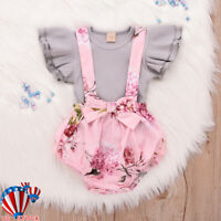 Newborn Baby Girl Ruffle Shirt Tutu Pant Floral Clothes Tops+Shorts Outfits Set