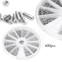 600pcs Small 12 Kinds of Screw Nuts Electronics Assortment Kit M1 M1.2 M1.4 M1.6