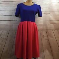 Lularoe Simply Comfortable Blue / Pink Textured Dress Women's Size Large