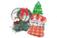 Mixed Lot of Christmas Holiday Decorations Wood Box Lights Wreath Bowl Platter