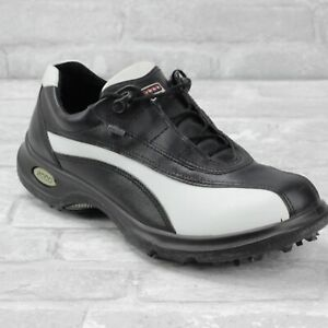 ECCO Gore Tex Golf Shoes Sz 41 Mens 7 / Womens 10 Black White Two Tone Leather