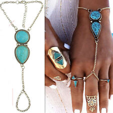 Retro Chain Slave Finger Ring Hand Harness Bracelet Turquoise Bead Bangle Boho