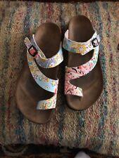 BIRKI'S Women's Size 7 Slip On Slide Flip Flops Sandals Shoes Floral Multi Color