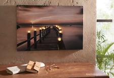 Leinwand Wandbild Deko Seebrücke Nacht Keilrahmen LED 10 Leucht Dioden 60x40 cm