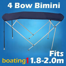 4 Bow 1.8m-2.0m Blue Boat Bimini Top Canopy Cover With Rear Poles & Sock