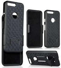 BLACK RUBBERIZED KICKSTAND CASE COVER + BELT CLIP HOLSTER STAND FOR GO