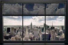 NEW YORK CITY - WINDOW BLIND SKYLINE POSTER - 24x36 TRAVEL CITYSCAPE 22814