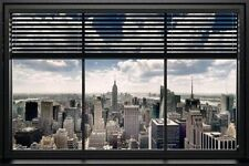 NEW YORK CITY - WINDOW BLIND SKYLINE POSTER - 24x36 TRAVEL CITYSCAPE 22814