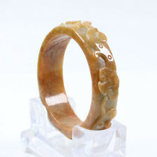 Jadeite Gems Bangle Bracelet a3127 63mm Chinese Hand-carved Brown Yellow Jade