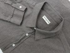 EUC Melinda Gloss Taupe Gray Cotton Button Down Sport Shirt Size 43 Large