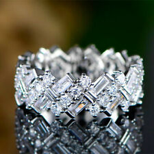 Sunshine 925 Silver Rings Women White Sapphire Wedding Ring Jewelry Size 6-10