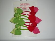 Nwt Gymboree~Cherry Baby ~4 Piece Red and Green Bow Barrettes