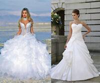 White/Ivory Wedding Dress Taffta/Organza Bridal Gown Stock Size 6 8 10 12 14 16