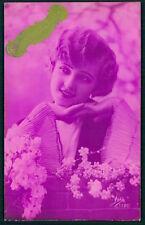 Art Deco 1920s original vintage photo postcard romance lady flapper pink