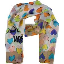 Moschino Scarf Love Hearts Print  Long 65cm x 170cm 100% Silk Beige New RRP£155