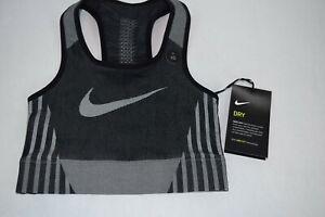 NWT Girls Nike FE/NOM Sculpt Bra AQ9080 010 XS Black White youth sports training