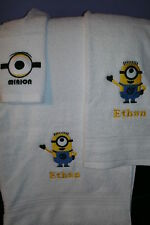 Minion Personalized 3 Piece Bath Towel Set Yellow Minion Your Color Choice