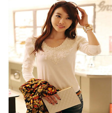 Women Lace Floral Round Neck White Long Sleeve T-Shirt OL Slim Tops QL