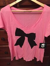 WILDFOX COUTURE PINK HEART T SHIRT SZ L NWT
