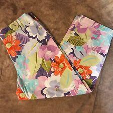 Talbots Purple Floral Womens Cotton Stretch Casual Capri Cropped Pants Size 12