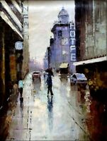 Rainy Street, Quality Hand Painted Oil Painting 30x40in