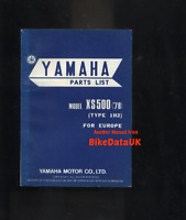 Yamaha XS500 DOHC (1978 >) Genuine Parts List Catalogue Book Manual XS 500 BC71