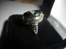 ANTIQUE ART DECO 14KT, WHITE GOLD FILIGREE RING DIAMOND & BLACK ONYX -SIZE 6