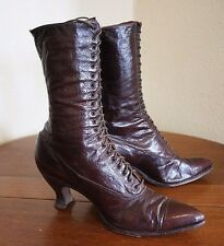 Antique Victorian Leather Brn High Top Lace Up Boots Shoes Vtg Steam Punk Grunge