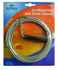 3 Metre Long Metal Sink Drain Unblocker Cleaner Waste Pipe Kitchen Plunger Snake