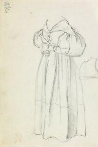 Paul Gavarni (Paris 1804-1866) Drawing Study Standing Lady French Costume Etude
