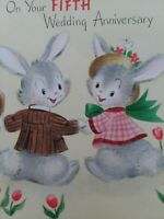Unsigned Vtg Fuzzy ANTHROPOMORPHIC BUNNY 5th WEDDING Anniversary GREETING CARD