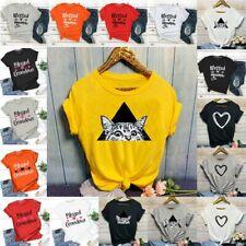 Womens Summer Short Sleeve T Shirt Blouse Ladies Print Basic Tee Tops Plus UK