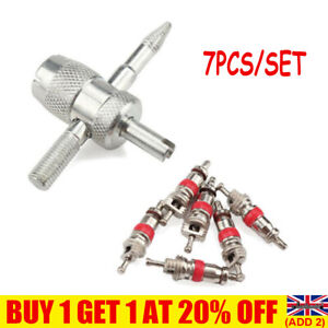 7Pcs Tyre Valve Core With Remover Tool Schrader Valves For Car Bike Repair YE47