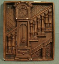 vintage chalkware wall plaque Grandfather clock umbrella stand staircase