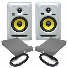 KRK Rokit RP5 G3 White Pair Active Studio Monitors With Isolation Pads & Cables
