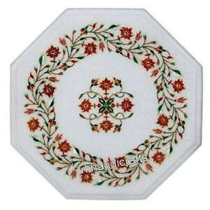 13 Inches Marble Inlay Table Top with Beautiful Floral Work Office Coffee Table