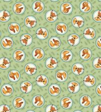 Disney BAMBI in round circles By-the-HALF-Yard 100% cotton green Quilt Fabric
