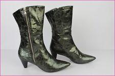 Bottines Boots LUCIANO BARACHINI Tout Cuir Gris argent T 38 Comme Neuves