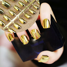 Medium Size Gold Mirror Acrylic Fake Nails Press on Nail Easy DIY Nail Tips N05