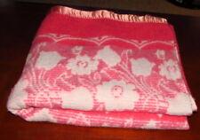 "Vintage Floral Tulip Pink Thermal Blanket 1.5"" Satin Binding Twin Size 69""x76"""