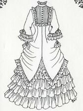 "23-24""Antique French Fashion Doll Ruffles Bodice Tucks Lace Trim Dress Pattern"