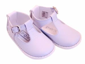 Pex designer leather t-bar Stef shoes ~ white, blue, pink