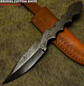 Brussel Rear Handmade Damascus Steel Wootz Art Full Tang Hunting Knife