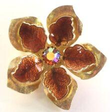 Brooch Pin - Flower - AB Rhinestone Center - Brown Enamel - Etched - Gold Tone