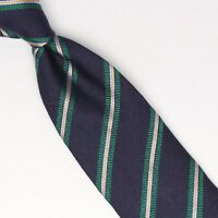 John G Hardy Mens Silk Necktie Navy Blue Green White Gold Stripe Weave Woven Tie